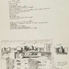 Study for distant view of hospital, notes on Ted Rosenthal thumb