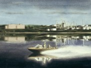 Halifax harbour with speedboat, hospital and refinery thumb