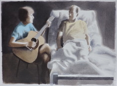 Friend with guitar and patient thumb